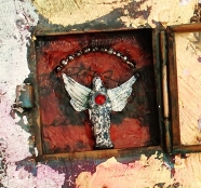 Linda Lenart McNulty-Encaustic Shrine-Angel Star-Detail Interior